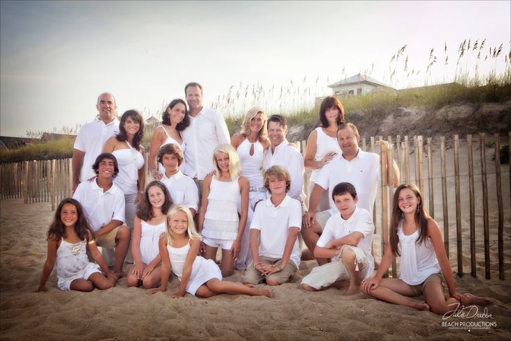 large family pose - beach