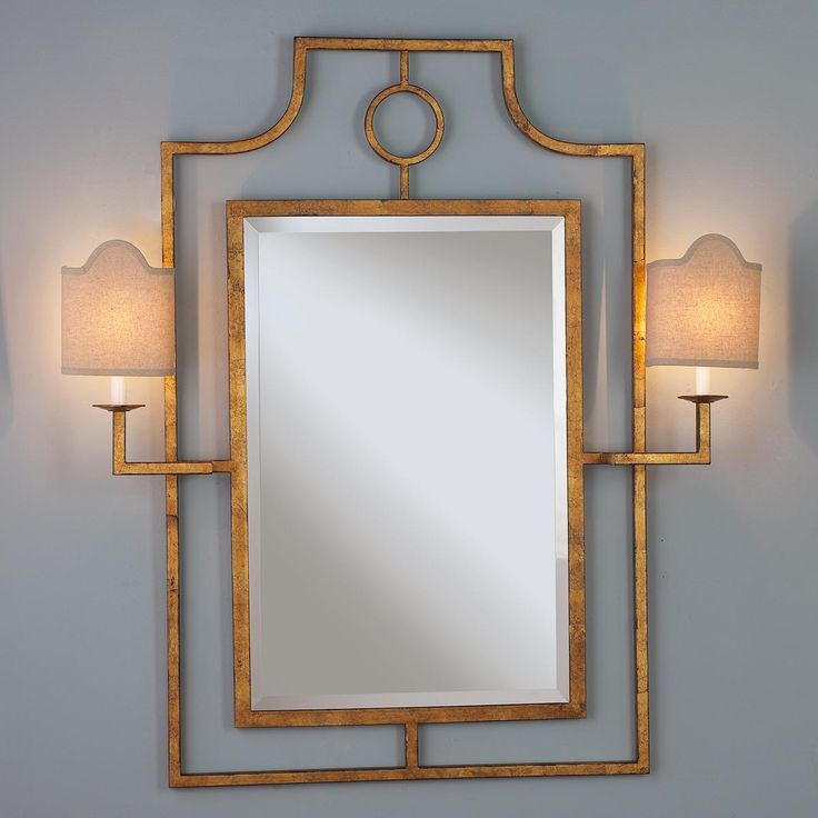 Keyhole Mirror with Sconces. This has a cord so you can put it anywhere! OMG this would be so helpful in my army apartment where I can change light fixtures or even bulbs!