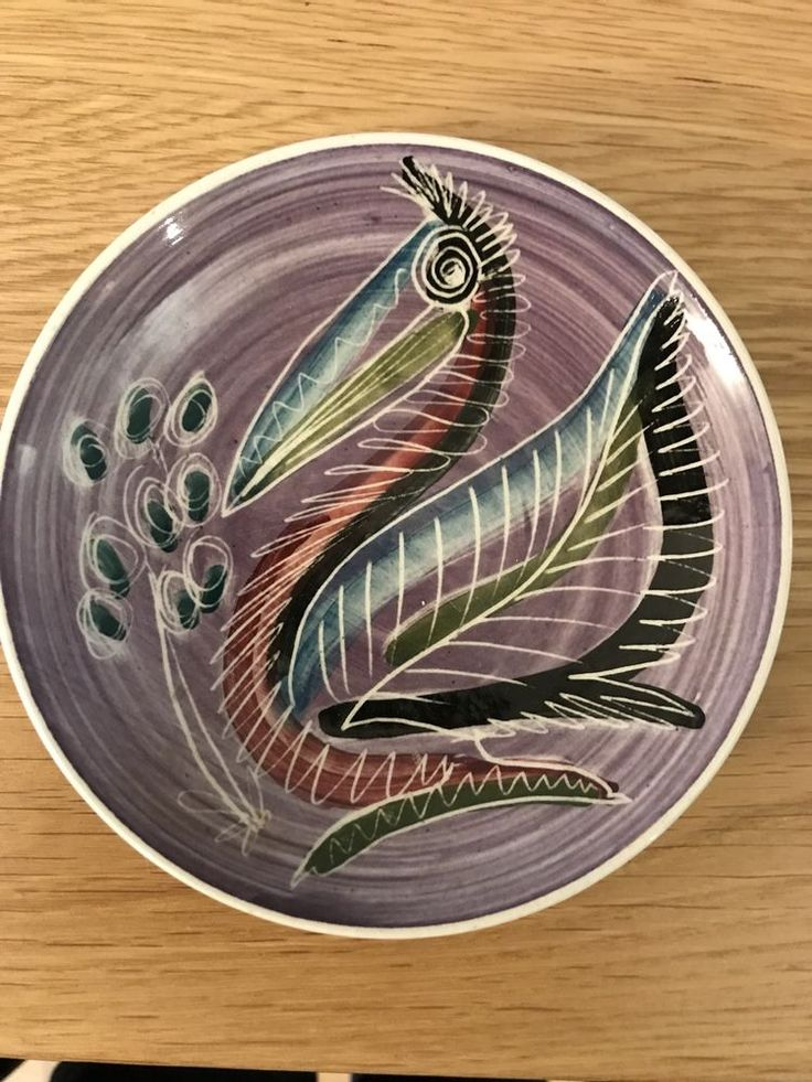 Jo Lester IOW Isle Of Wight pottery Pelican Bird Pin Dish Sgraffito #PinDishes
