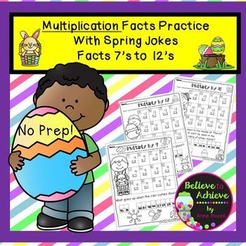Multiplication Fact Practice (7's to 12's) with Spring Jokes!  Your students will LOVE working on their multiplication facts and finding the answers to the Spring jokes! This set contains 6 pages total ( 1 page per fact) and the answer keys!