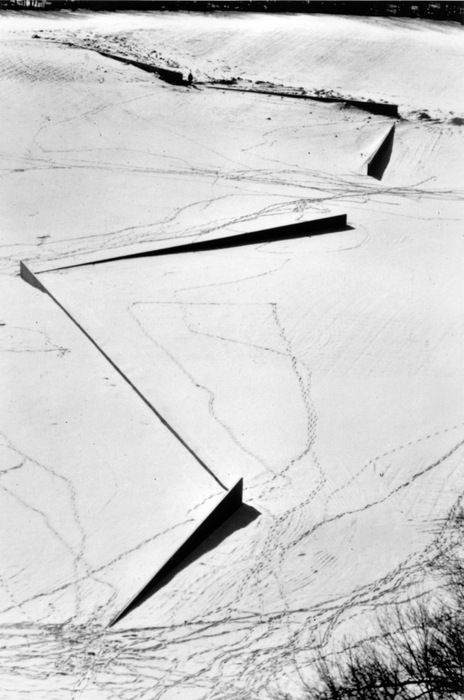 "Richard Serra - Shift - ""The dialectic of walking and looking into the landscape establishes the sculptural experience."" ""Edges...point into space, or direct, or cut. or juxtapose volumes of space."" ""What I wanted was a dialectic between one's perception of the place in totality and one's relation to the field as walked."" ""...an awareness of physicality in time, space, and motion."""