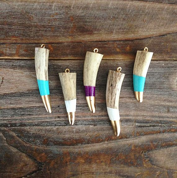 Hand Painted Antler Pendants , Painted Antler Pendant, Painted Deer Antler, Antler Tip Necklace, Antler Tip Pendant, Antler Jewelry