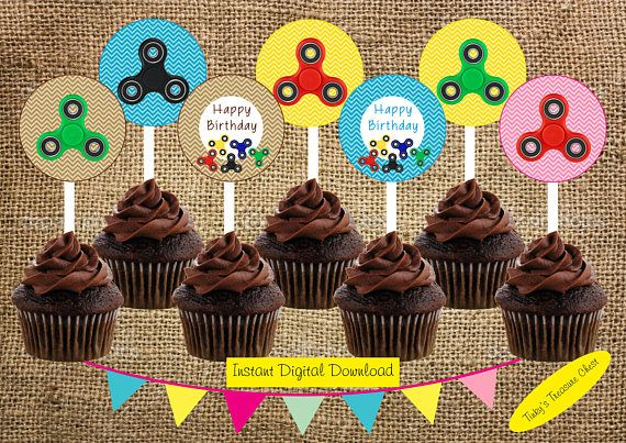 Fidget Spinners  2 Inch Cupcake Toppers. Instant Download.