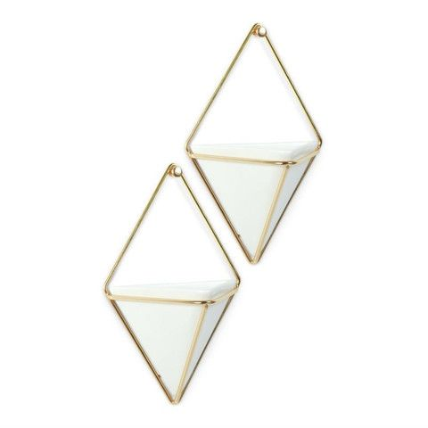brass and white ceramic wall planters