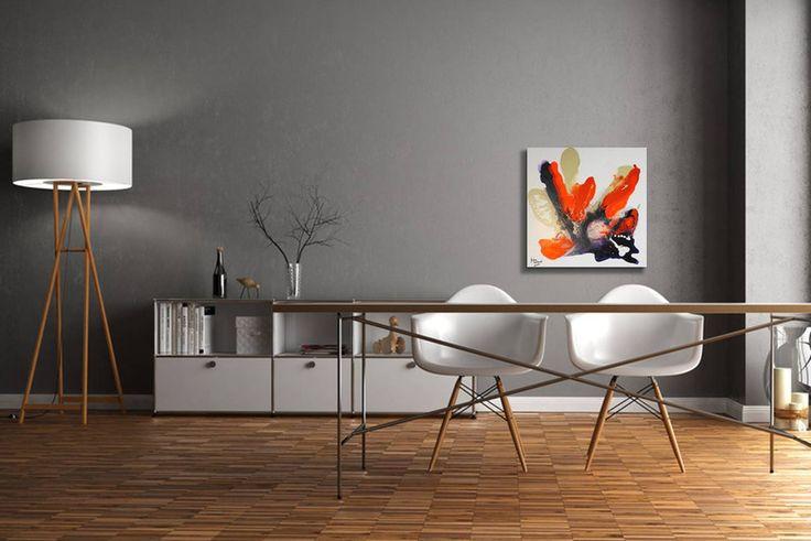 Acrylmalerei - Gemälde Fluent orange - Abstrakt Acryl Leinwand  - ein Designerstück von GalerieMiMo bei DaWanda