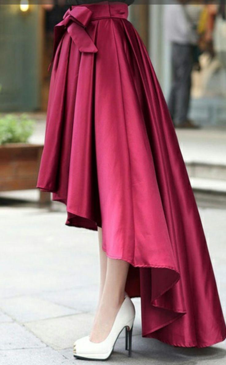 Satin high low skirt.