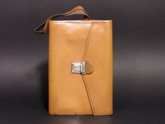 French Men Genuine Leather Clutch Bag  70s Leather Wrist