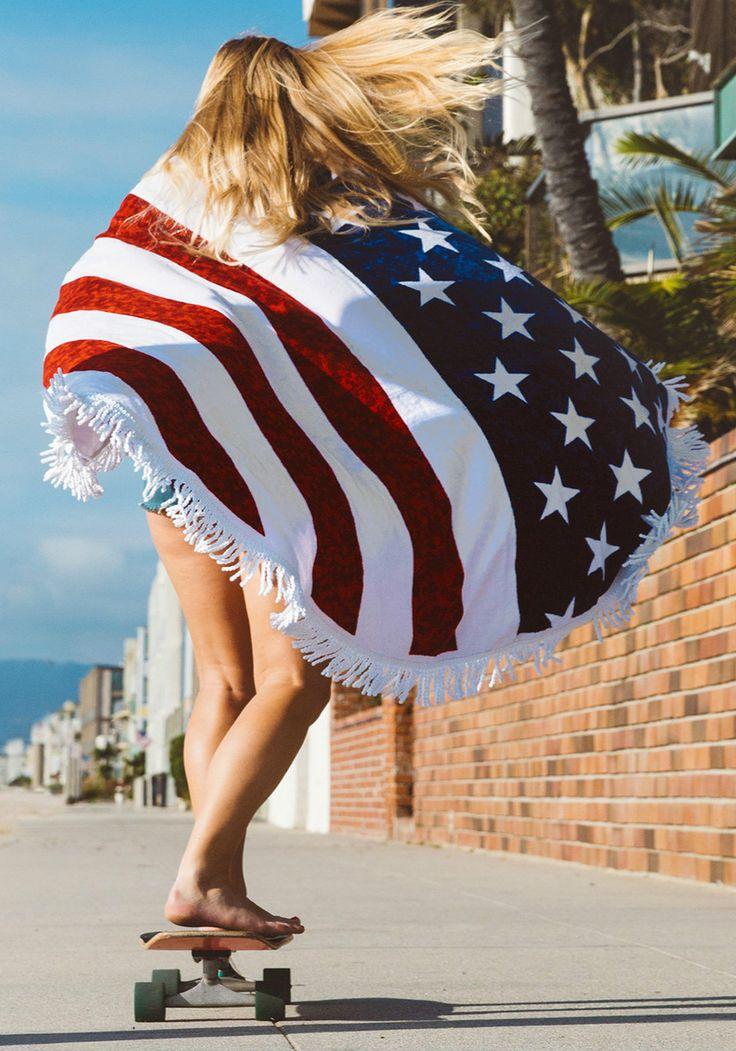 Fashion American Flag Beach Towel with Tassel