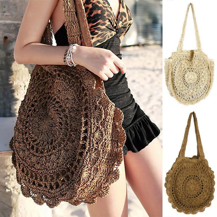 Women Summer Round Beach Straw Shoulder Bag Handbag Shopper Tote Purse Satchel |…
