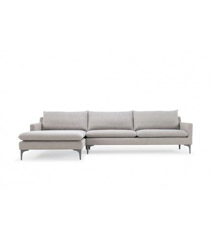 Kamma, 3-seater sofa w/ chaiselong left, Spring Natural, Antracit Grey Metal Legs