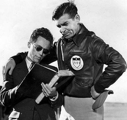 "Photo of Carl Major Roup with Clark Gable, filming ""Test Pilot"" in 1938"