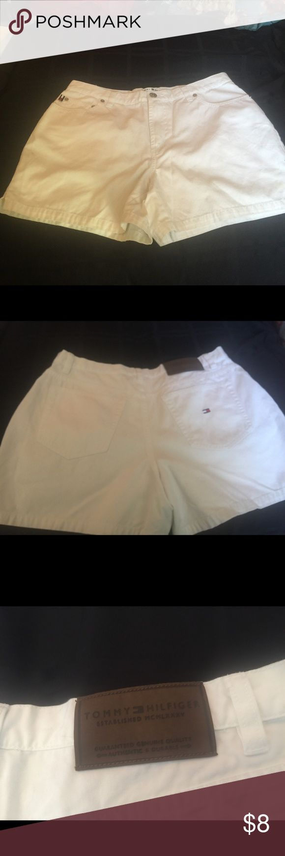 Sale Tommy Hilfiger Size 6 White Denim Shorts. Get ready for spring with these cute white denim Tommy Hilfiger jean shorts with 3-3.5 Inseam in size 6.   I have another pair of Tommy Hilfiger shorts listed in the same style only in a coral color.  These are in good condition, only worn a few times and no stains. Thanks for visiting!  Let me know if you have any questions. Tommy Hilfiger Shorts Jean Shorts