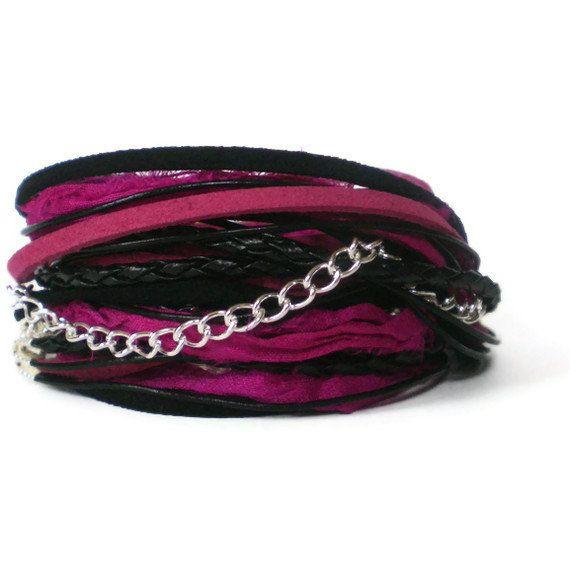 pink & black wrap bracelet leather sari ribbon suede by jcudesigns, £17.00