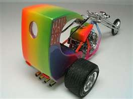 #1. because it's a chopper.   #2. because it freakin' rainbowed  Scale Model Replicas Mail Box Chopper Trike Motorcycle Kit.