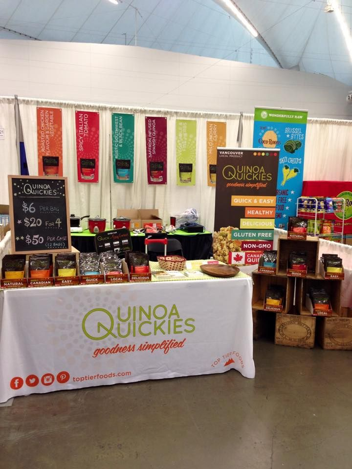 Booth setup at the Vancouver Gluten Free Expo 2015. Made of 100% Canadian golden quinoa and all-natural ingredients, our West Coast inspired Quinoa Quickies are delicious side-dishes that are healthy and easy to prepare. They are quick nutritious meals that support your active lifestyle with natural goodness. Quinoa Quickies are Goodness Simplified! Visit quinoaquickies.com for more info on Quinoa Quickies. #quinoaquickies #toptierfoods