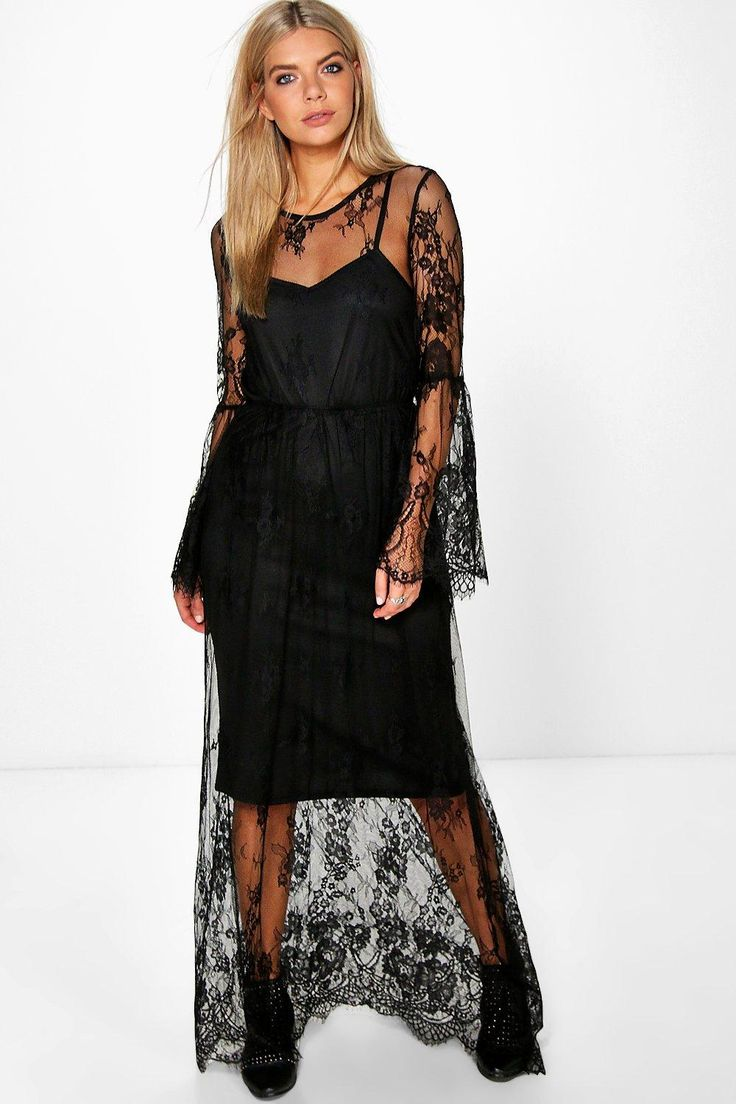 Amelia Lace Flute Sleeved Maxi Dress