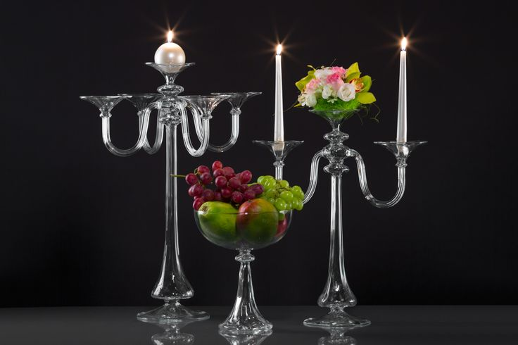Wedding deocrations - glass candle holders, fruit stand.Shop on www.gabrielaseres.com