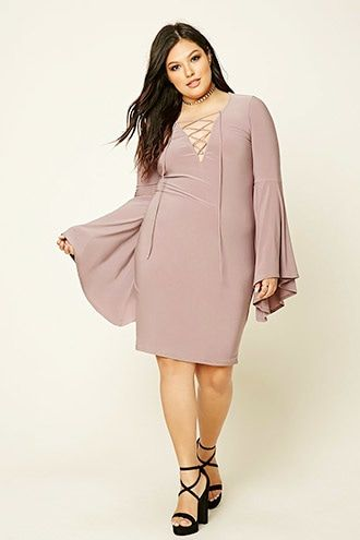 Plus Size Lace-Up Mini Dress