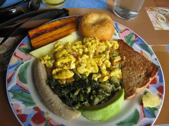 Jamaica's National Dish is Acee & Saltfish.  I love this picture.  This is why Jamaican runners are so fast!  With the green banana, plantain, avocado and more for breakfast!