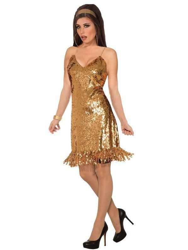 84e74bba5be1 Womens Gold Sexy Sequin Disco Costume in 2019 | Decades Costume ...