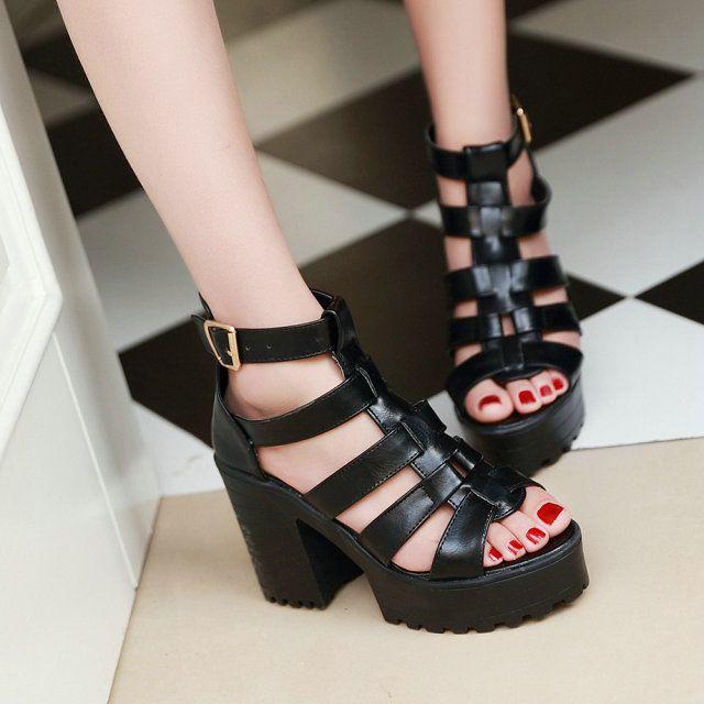 Купить товарРазмер 34   43 гладиатор женщины сандалии толстый высокая высокие каблуки лето обувь платформа чёрно белый дамы обувь в категории Сандалиина AliExpress.          Женские размер таблицы преобразования                  Длина стопы            Дюймов         8.67     8.86