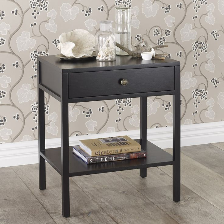 Lucca Bedside Table In Ebony With Bronze Knob By Heatherly