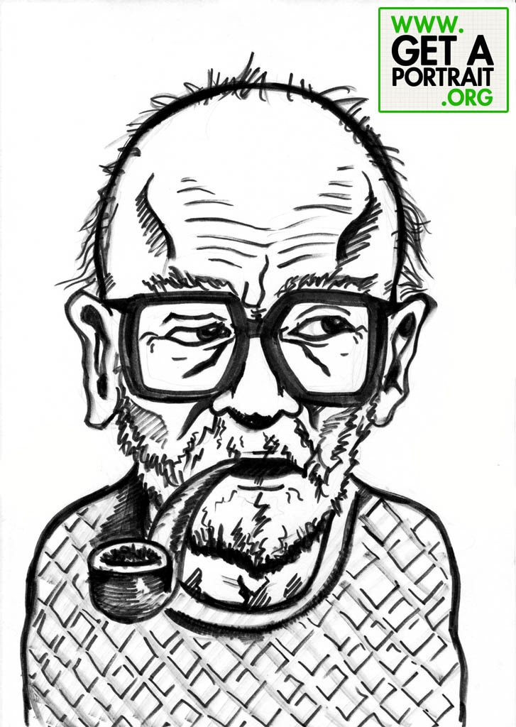 Portrait of Mircea Eliade, Romanian writer who lived in France — Get a high quality PORTRAIT or CARICATURE from a pro, for an unbeatable price! GetAPortrait.org