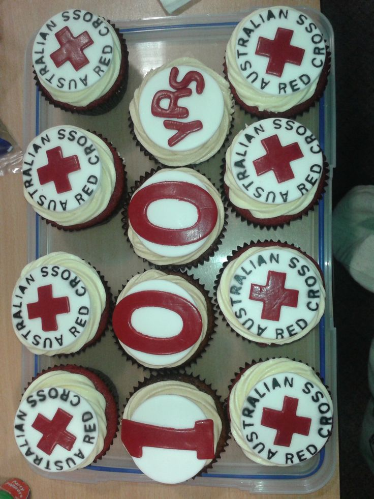 #BCBCelebrate  Rec Cross cupcakes - Red velvet with vanilla cream cheese frosting and Australian Red Cross logo fondant. 100yrs cupcakes - coffee cupcakes with coffee syrup, topped with coffee cream cheese frosting.