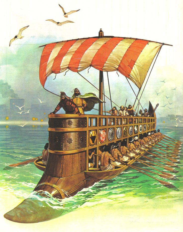 A wonderful depiction of a later period Phoenician Bireme galley shown off to its full extent in this colourful and accurate depiction by the late Military illustrator Angus McBride