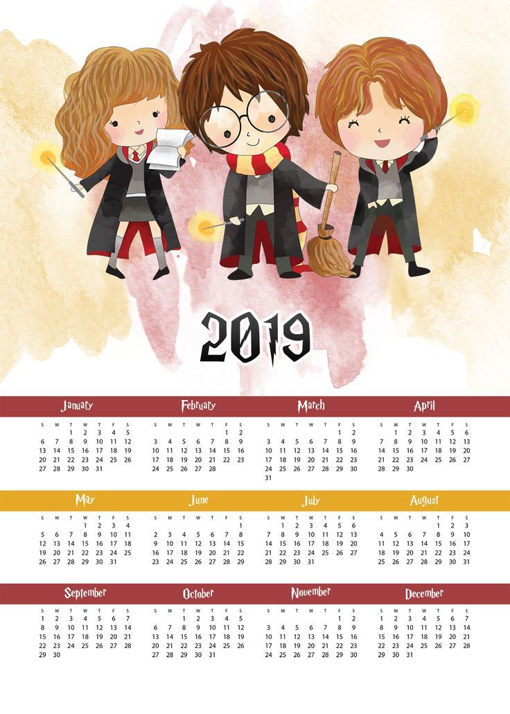 Kostenlose druckbare 2019 Harry Potter eine Seite Kalender