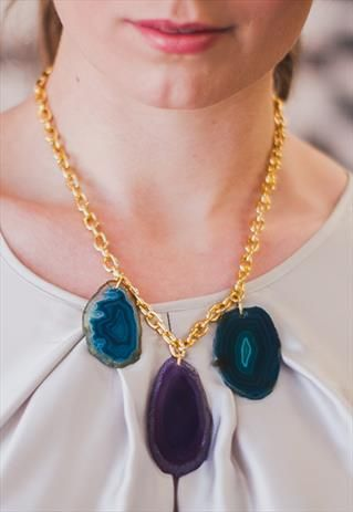 The Trio.One of a kind agate slice necklace on gold chain - purple, blue from Shh by Sadie on ASOS Marketplace. Shhbysadie.com Tropical jewellery, handmade jewellery, holiday necklace. Aztec necklace.