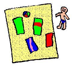Smeer een blad papier in met lijm (bijvoorbeeld behangerslijm) en doe daar het zand op. Schud het overtollige zand eraf. Wat je nu hebt gekregen is het strand. Knip van stukjes stof rechthoekjes voor de badlakens en plak die op het strand. Nu kun je ook nog mensen maken die op het strand liggen. Dat kun je doen van papier of je kunt de poppetjes van Lego of Playmobil gebruiken om ermee te spelen. Zet ook hier en daar nog een tasje neer, een luchtbed of een strandbal.