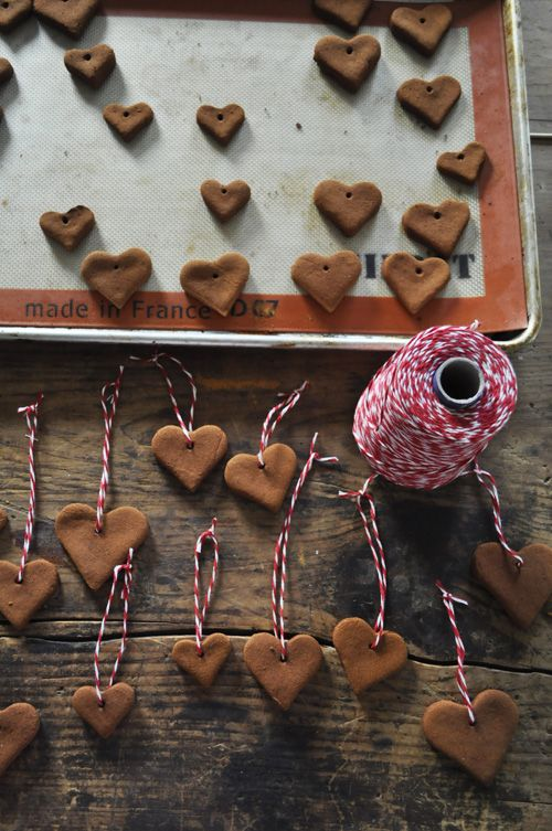 Cinnamon heart ornaments- they make your tree smell amazing!