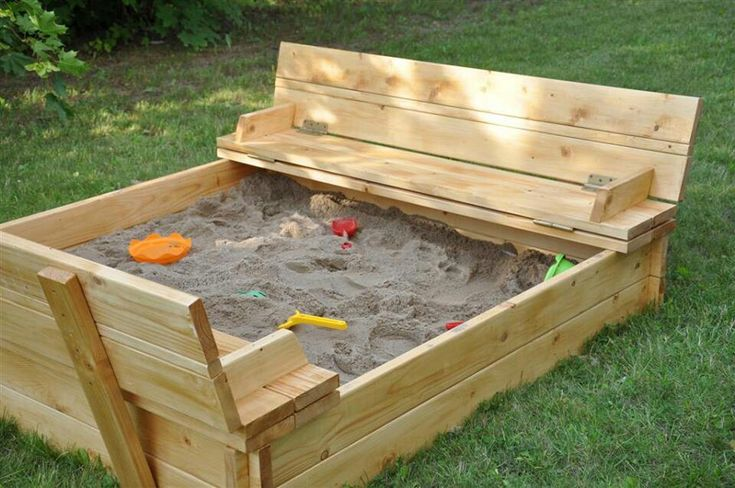 8x8 Sandbox With Lid That Folds Up To Be Benches On Either Side. | Misc |  Pinterest | Sandbox, Bench And Backyard