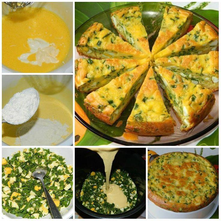 Пирог с яйцами и зеленым луком.  В сезон свежей зелени предлагаю приготовить не только вкусный, но и полезный пирог с зеленым луком и яйцами. Очень вкусно его подавать вместо хлеба к первым блюдам.  Для приготовления пирога с яйцами и зеленым луком потребуется:  Для теста:  4 яйца;  соль;  7 ст. л. муки;  1/3 ч. л. соды;  200 г сметаны;  1 ст. л. майонеза.  Для начинки:  6 вареных яиц;  большой пучок лука;  соль.  Яйца взбить с солью. Добавить сметану и майонез. Перемешать.Добавить соду и…