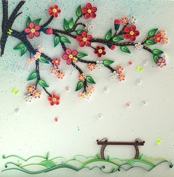 "Original Quilling Art: ""Under the Tree of Luck"" Colourful Paper Art 3D Wall Art"