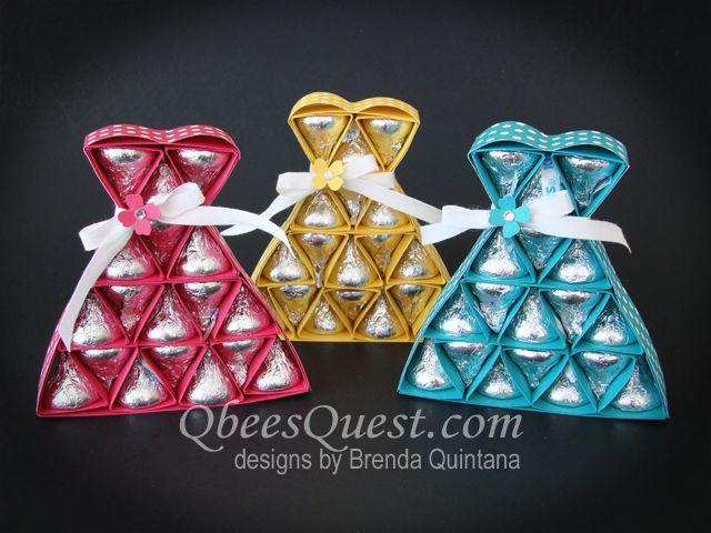 Hershey's Dress Tutorial | Bridal Shower, Weddings, Favors, Dresses, Hershey's Kisses, Simply Scored, Stampin' Up, Qbee's Quest, Brenda Quintana