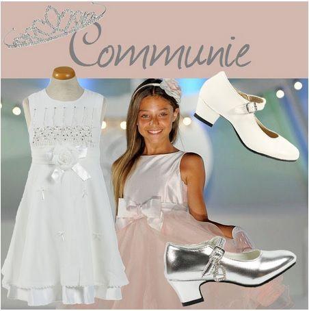 communiejurk / tiara / witte communieschoenen / zilveren schoenen www.laluzz.nl