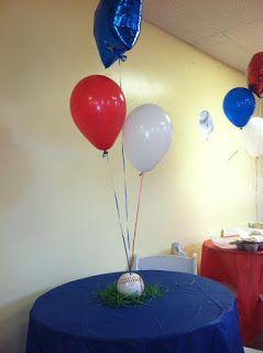 Baseball centerpieces with balloons