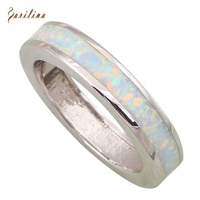 Ювелирные изделия Круглый Регулировка Натяжения кольца для женщин Белый Опал Серебряные Кольца размер 5.5 6.5 7 8 9 10 R464