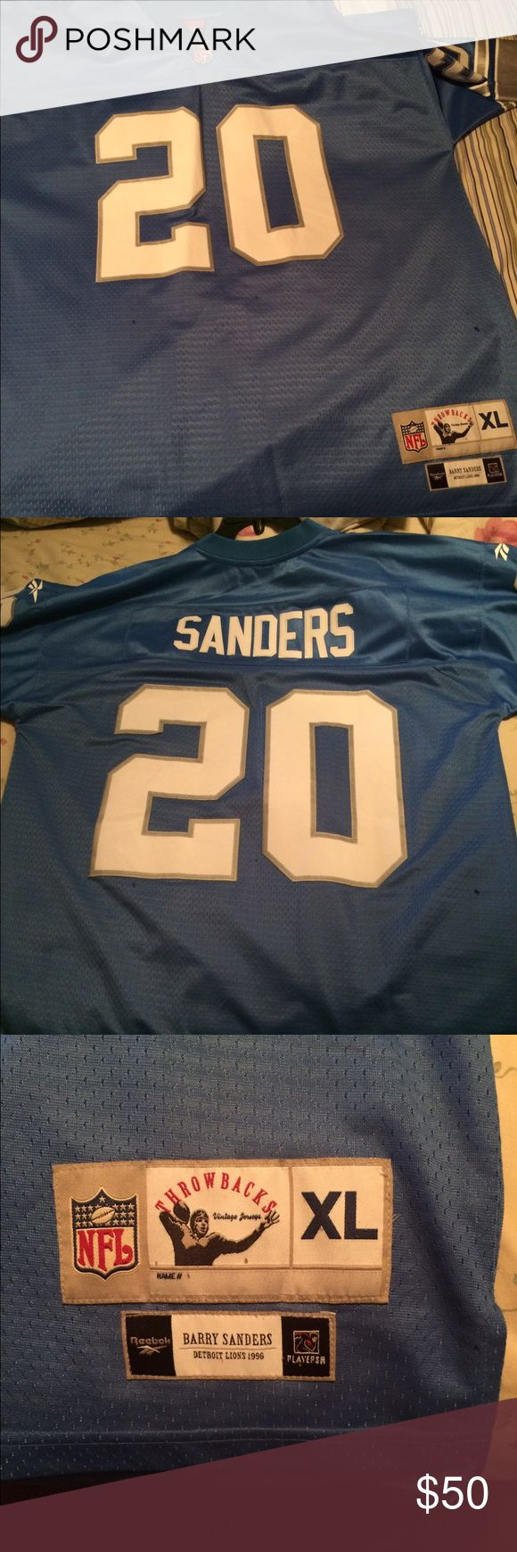 Barry Sanders Detroit Lions Jersey Reebok Detroit Lions Barry Sanders throwback jersey. Size XL Reebok Shirts Tees - Short Sleeve
