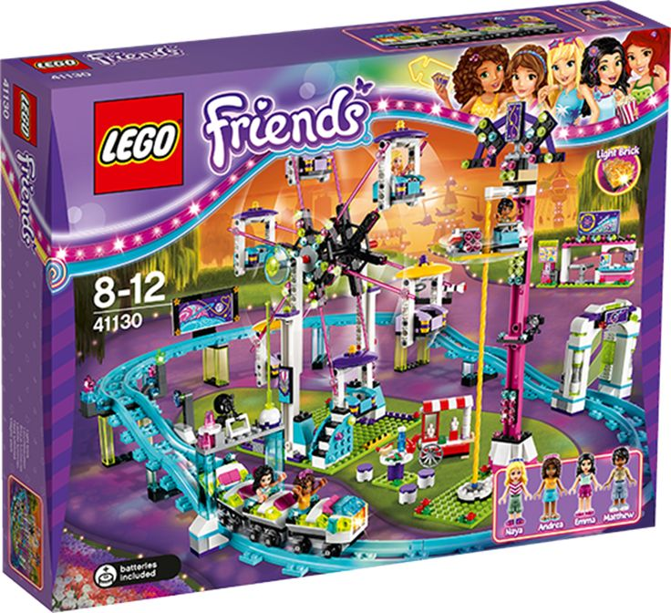 LEGO Friends 41130 Berg-og-dalbane på tivoli Gå gjennom telleapparatet ved tivoliinngangen, og still deg i kø ved berg-og-dalbanen. Sett deg helt foran for å slå på lysklossen. Hold deg fast – jippiiiiiiiiiii! Ro ned tempoet med en hyggelig tur i pariserhjulet, eller gå videre til falltårnet, fest låsestangen og fall i rasende fart mot bakken. Etterpå kan du kjøpe bilder og spise et deilig måltid sammen med vennene dine. Så gøy som det er på tivoli, skulle man ønske at dagen aldri tar slutt…