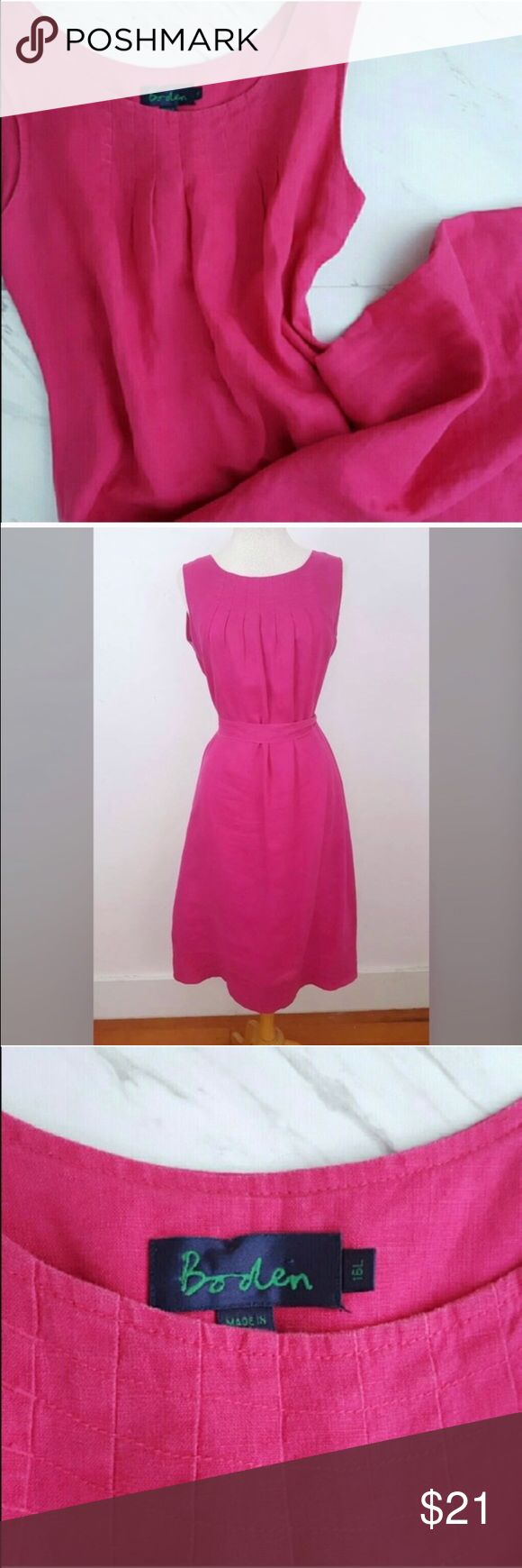"""Boden Dress @RESERVED Beautiful fuscia pink sleeveless dress by Boden. Simple stich pattern on neckline with pleats. Comes with a wrap around belt. Size 16L, measurements: armpit to armpit 19"""", length about 45"""".  It appears that the previous owner stitched up a seam on the left arm hole. Structure is solid but thestitchingis a different shade. see last photo for reference. ***discounted price due to small tear in dress Boden Dresses"""
