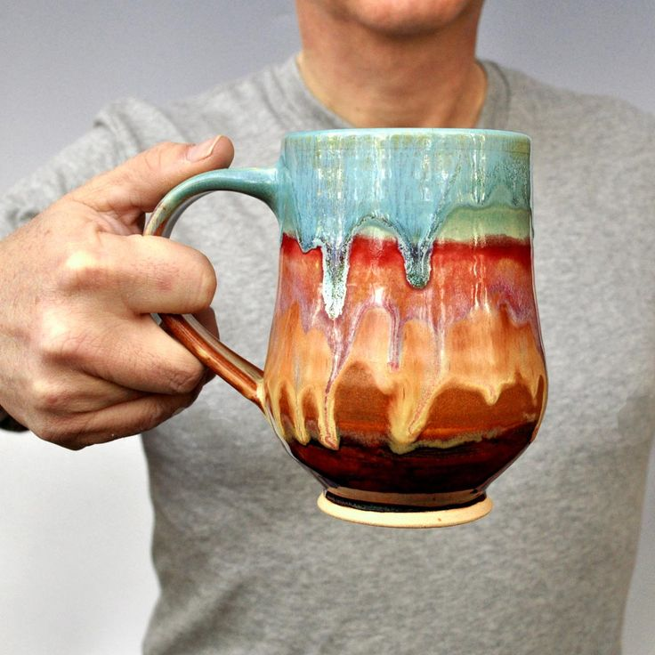 Beer Stein or coffee mug wheel thrown Fathers Day gift by Lee Wolfe $28.00