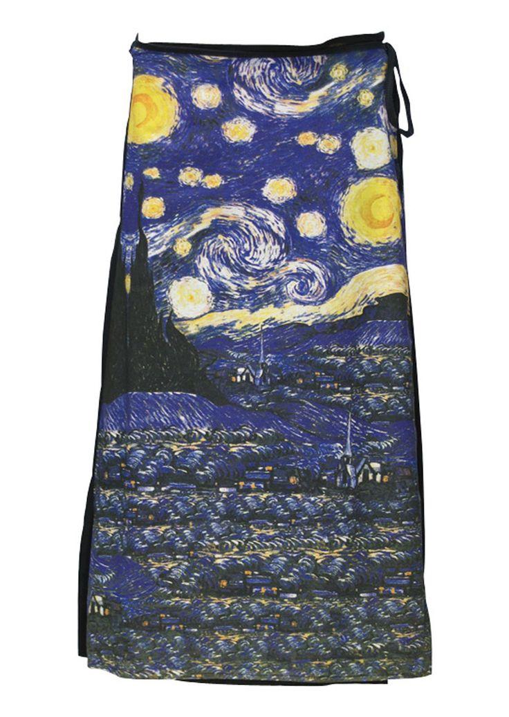 Art Wrap Skirt Starry Night