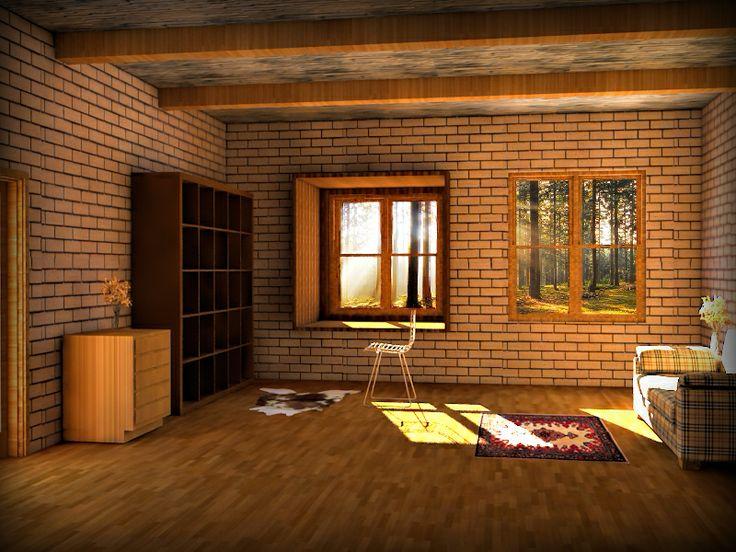 Práctica de 3ds Max + V-Ray + Photoshop (Interior de cabaña)