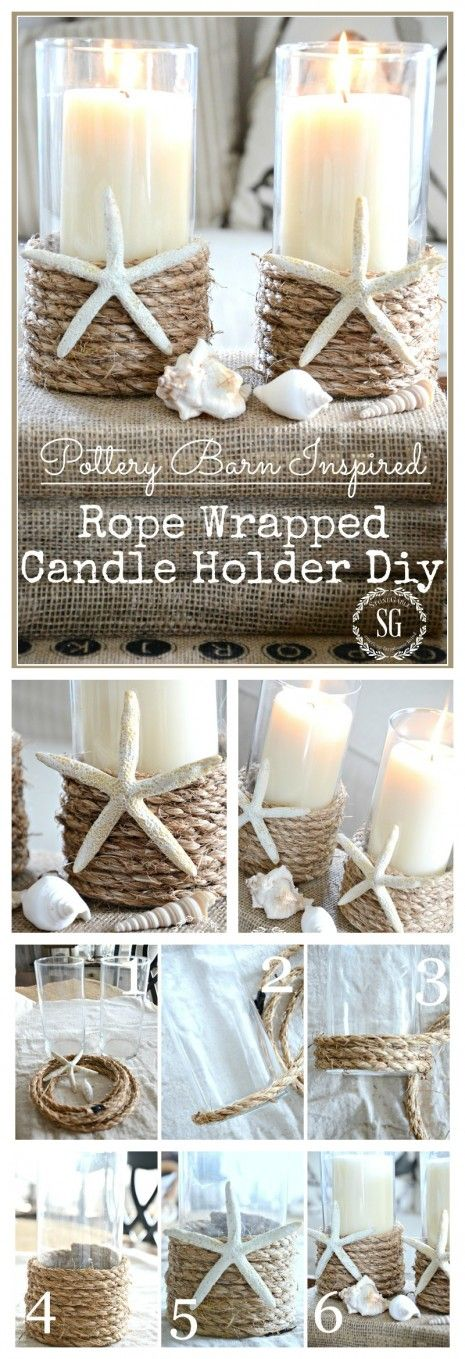 POTTERY BARN INSPIRED ROPE WRAPPED CANDLE HOLDER DIY For quips, cotton balls, etc.