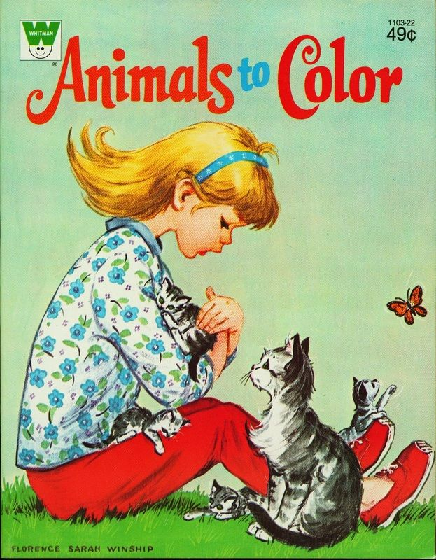 Vintage Coloring Book Animals To Color Florence Sarah Winship Unused Animal Pics