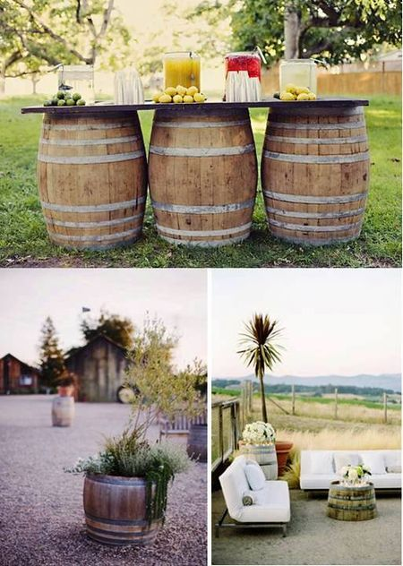 Simple outdoor DIY uses for aged whiskey barrels