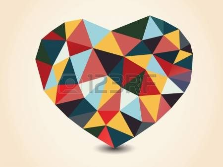 Origami polygonal heart. Vector Illustration. photo